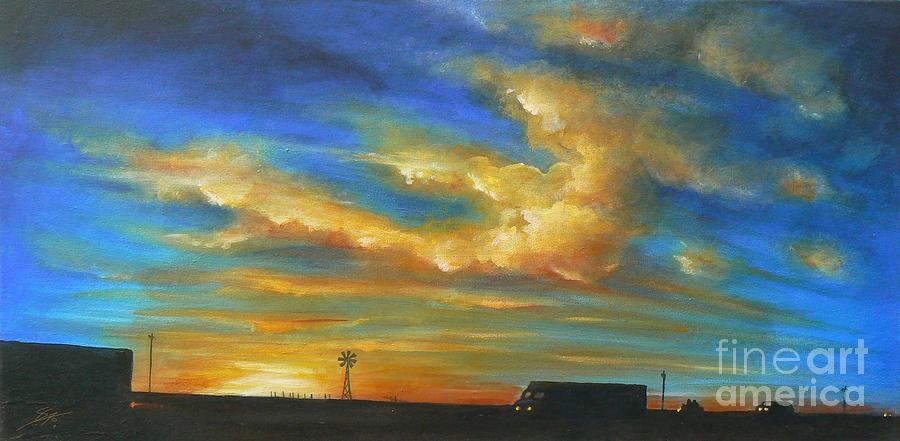 Acrylics Painting -  On Route 66 To Amarillo by Artist ForYou