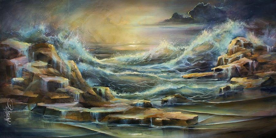 Seascape Painting -  Ontario Evening  by Michael Lang