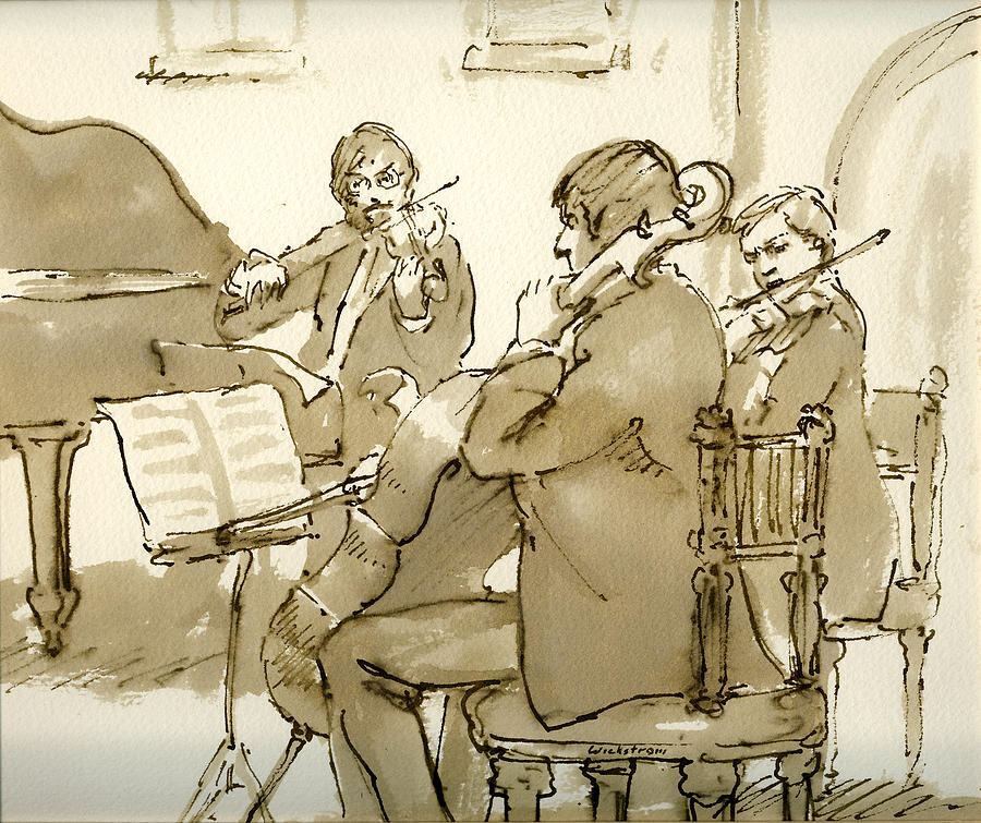 Sepia Painting -  Original Pen and Ink Drawing Three Musicians in Concert by Thor Wickstrom