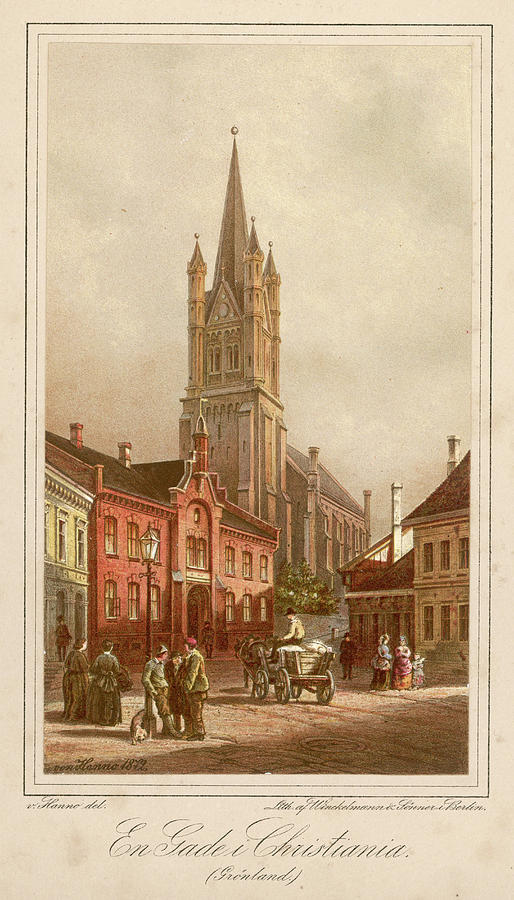Oslo Drawing -  Oslo (formerly Christiania)  Street by Mary Evans Picture Library