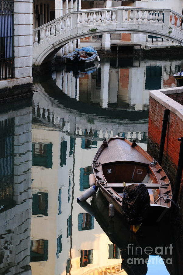 Venice Photograph -  Oval Reflection by Jacqueline M Lewis