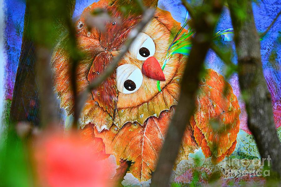 Owl Digital Art -  Owl Leaf Forest by Vin Kitayama