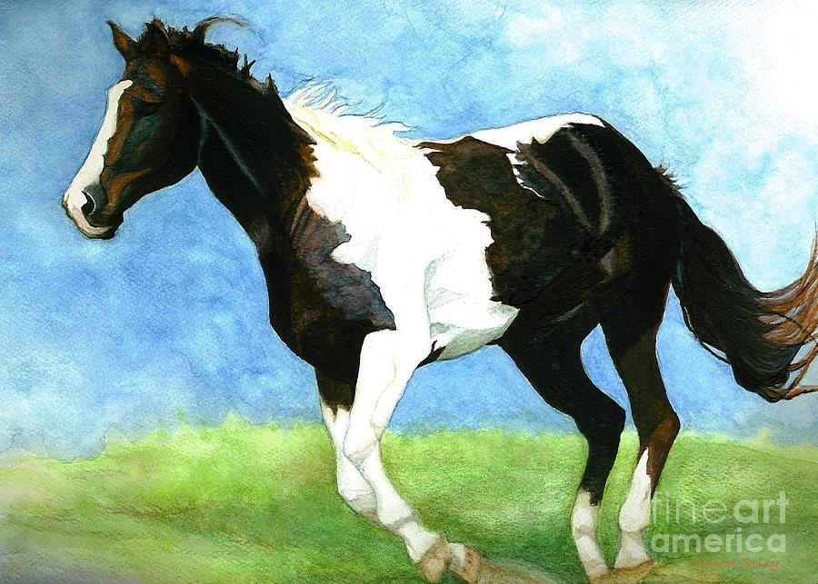 American Paint Horse Painting -  Painted Horse by Janine Riley