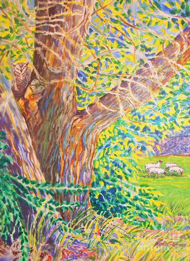 Painting Of Owl In Tree II Digital Art by Annie Gibbons