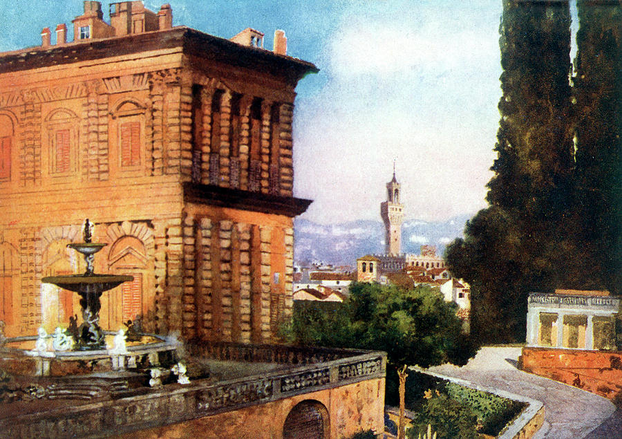 Florence Drawing -  Palazzo Pitti  And Boboli Gardens by Mary Evans Picture Library