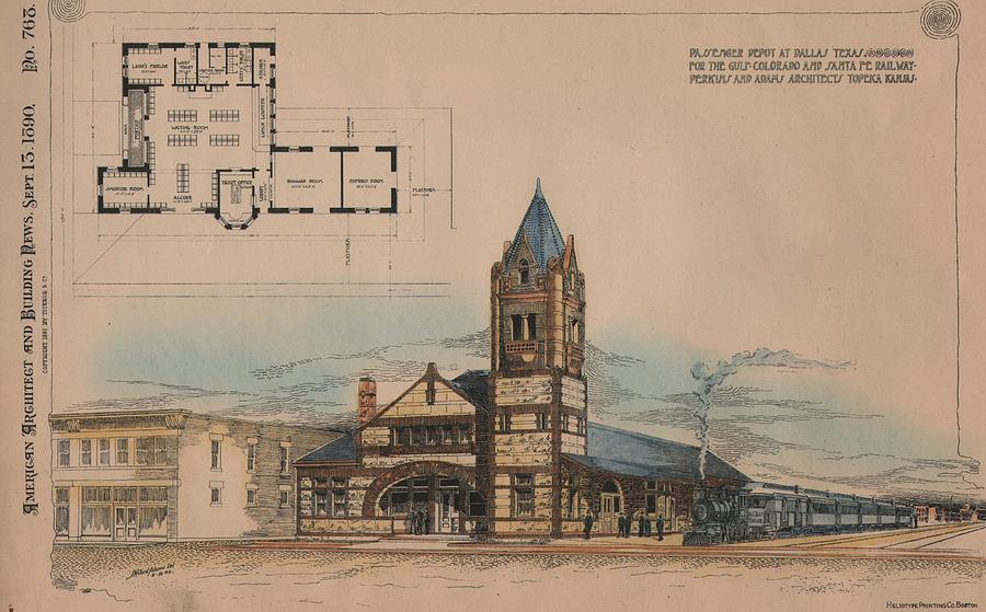 Railroad Painting -  Passenger Depot for the Gulf Colorado and Santa Fe Railway in Dallas Texas by  Perkins and Adams Architects