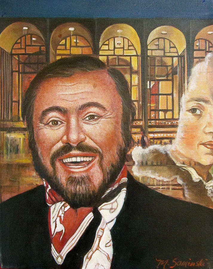 Luciano Pavarotti Painting -  Pavarotti And The Ghost Of Lincoln Center by Melinda Saminski