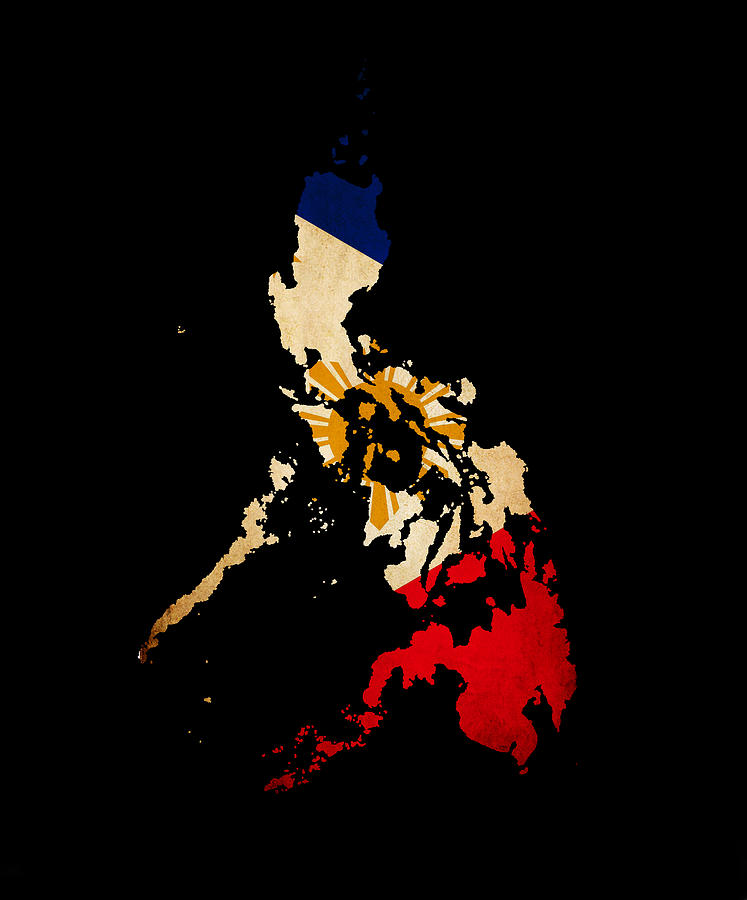 Philippines Outline Map With Grunge Flag Photograph by ...
