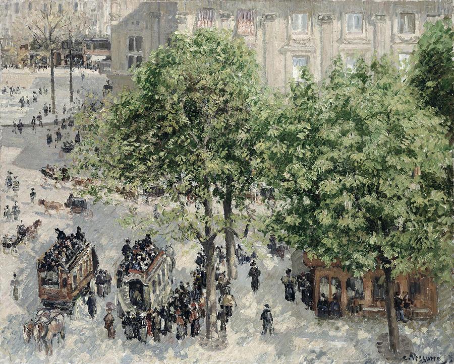 Impressionist Painting -  Place Du Theatre Francais by Camille Pissarro