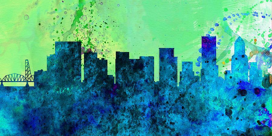 Portland Painting -  Portland City Skyline by Naxart Studio