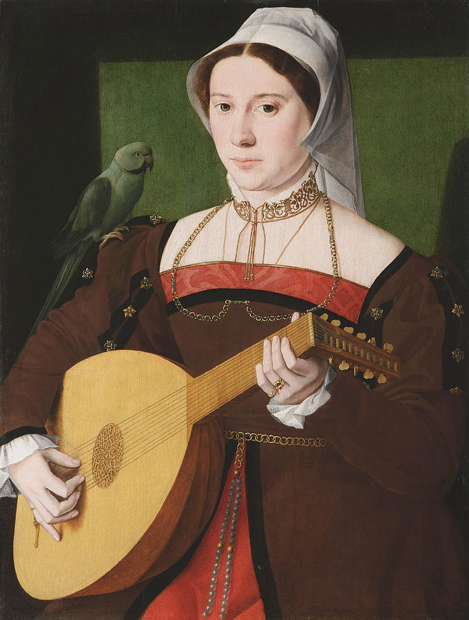 Music Painting -  Portrait Of A Woman Playing A Lute by Celestial Images