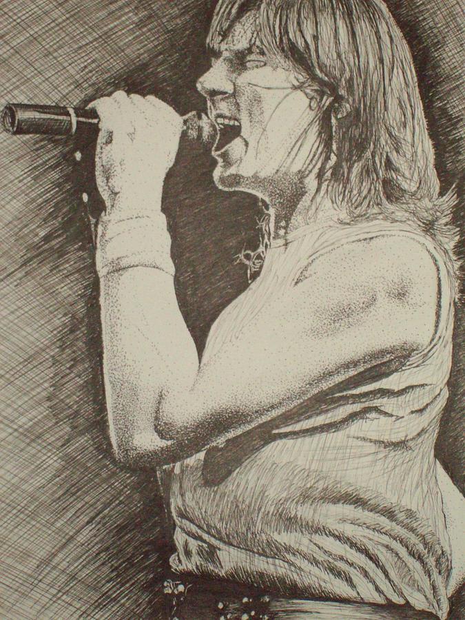 Music Drawing -  Portrait Of Joe Elliott by Chris Shepherd