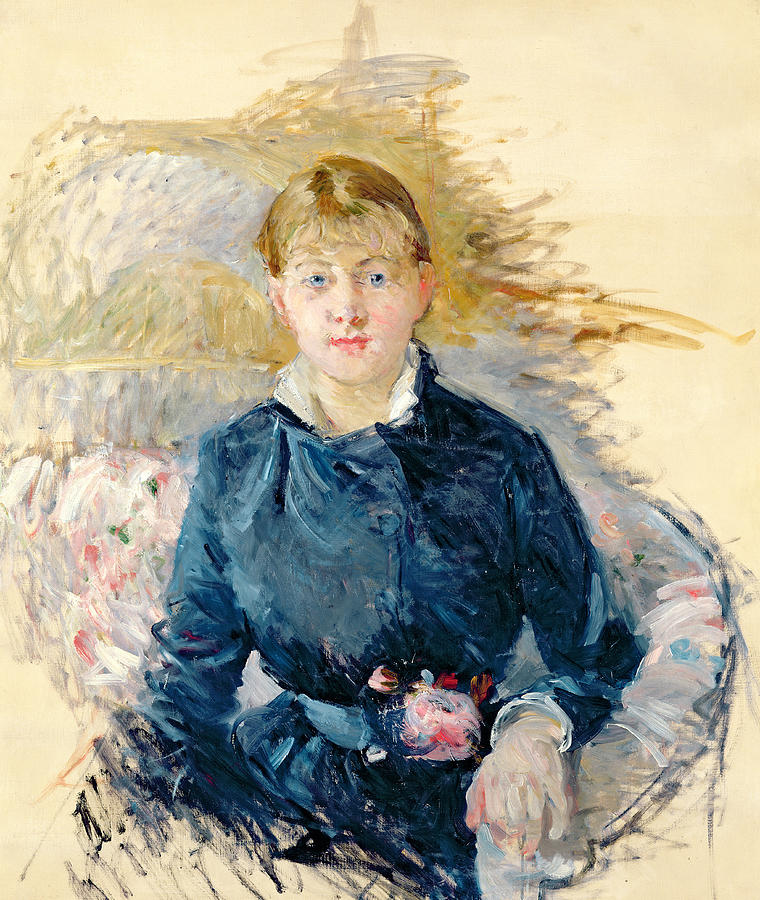 Female; Seated; Impressionist; Berthe Morisot Painting -  Portrait Of Louise Riesener by Berthe Morisot