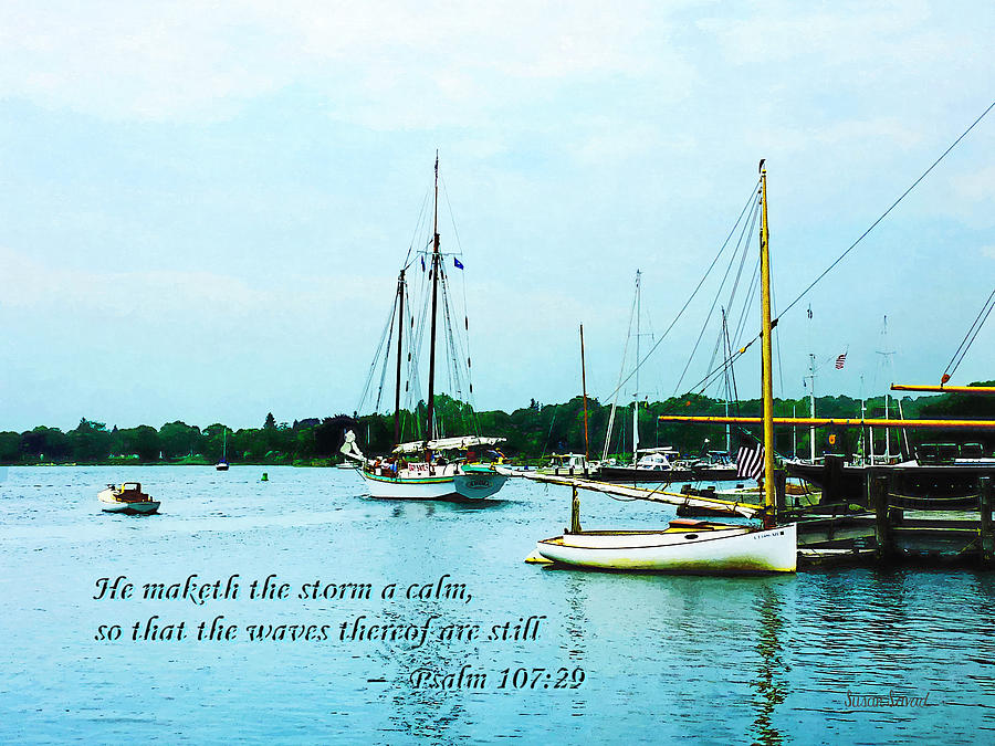 Religious Photograph -  Psalm 107-29 He Maketh The Storm A Calm by Susan Savad
