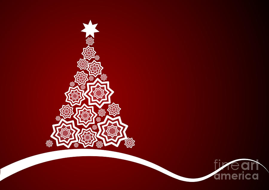 Digital Christmas Cards.Red And White Christmas Card