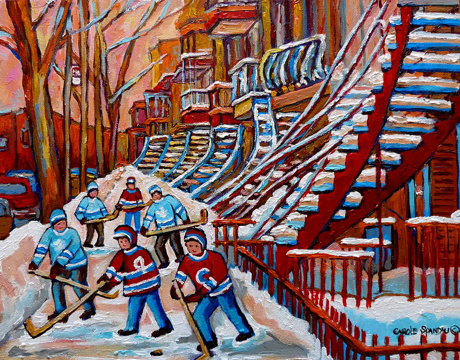 Red Staircases -paintings Of Verdun Montreal City Scene - Hockey Art - Winter Scenes  Painting by Carole Spandau