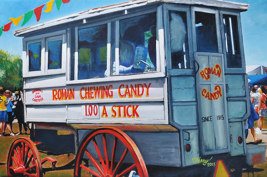 Roman Candy Painting -  Roman Candy Guy At Jazz Fest by Terry J Marks Sr