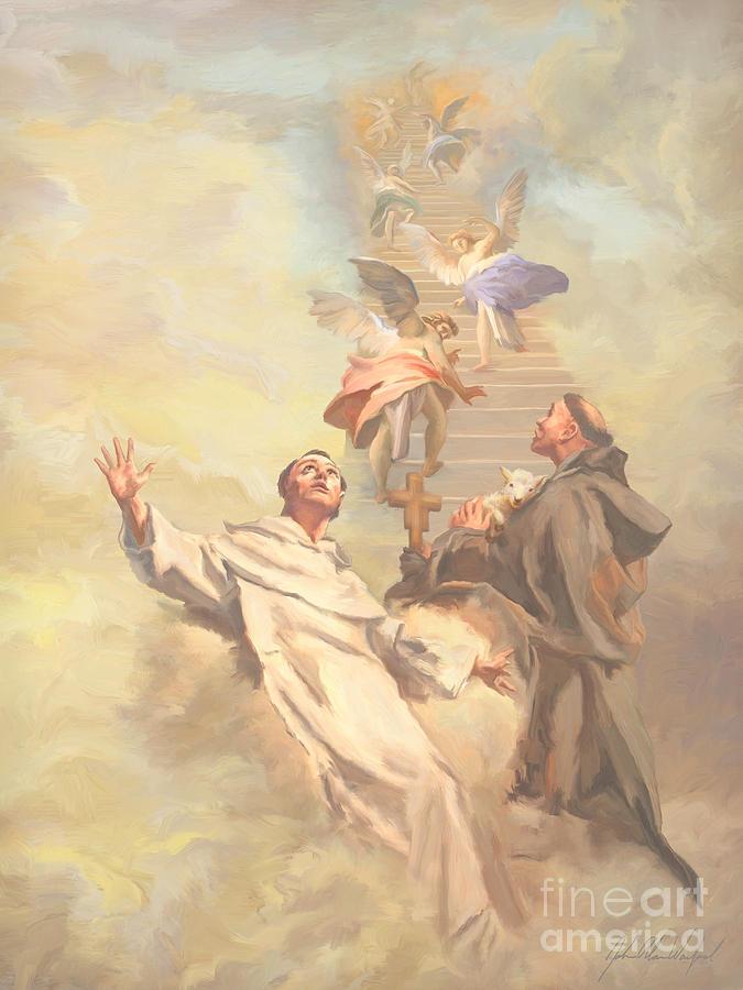 Saint Benedict Painting -  Saint Benedict And Saint Francis Of Assisi by John Alan  Warford