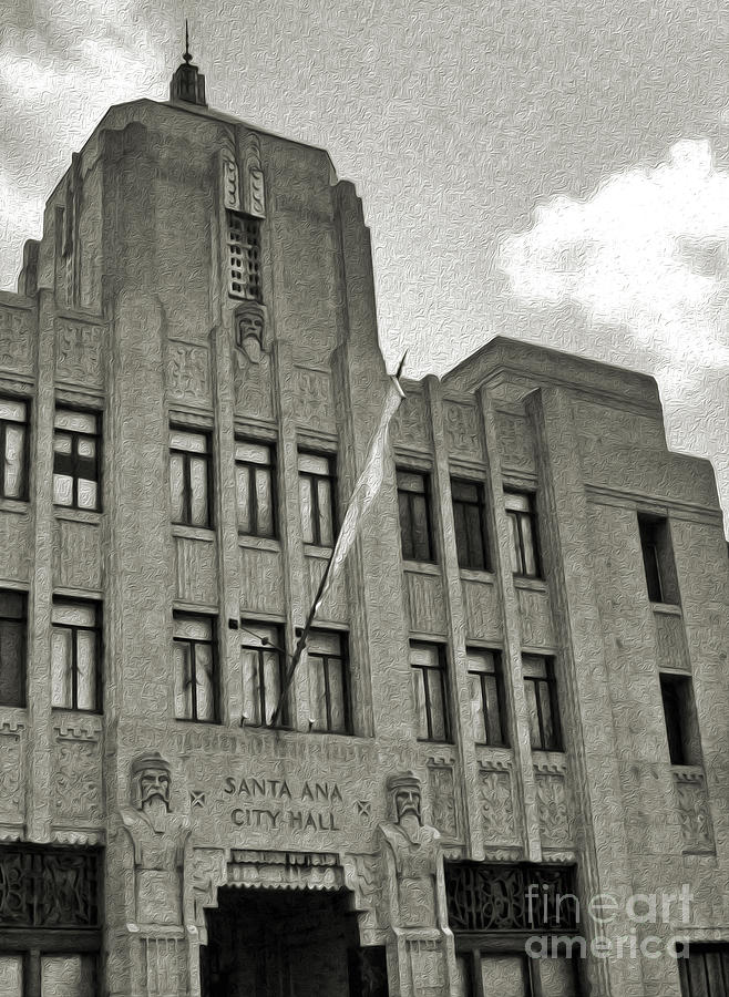 Deco Photograph -  Santa Ana City Hall Building - 02 by Gregory Dyer