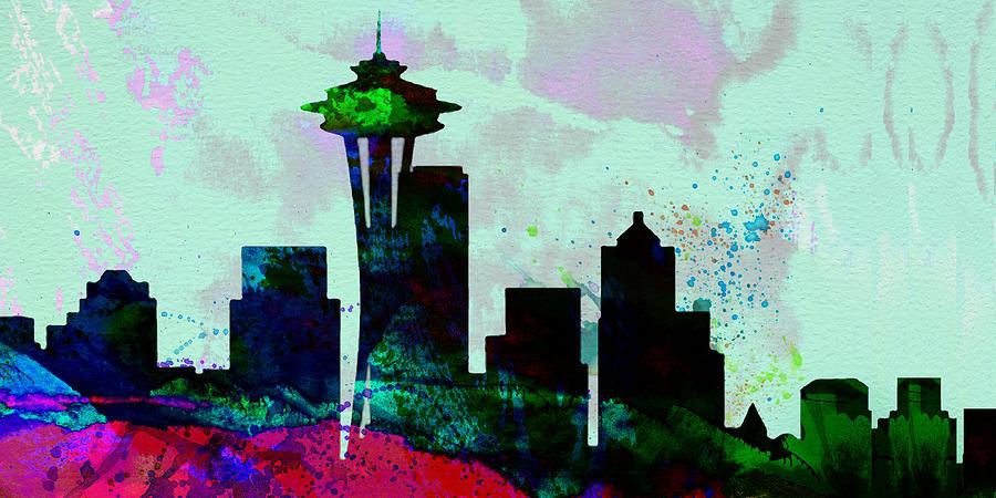 Seattle Painting -  Seattle City Skyline by Naxart Studio