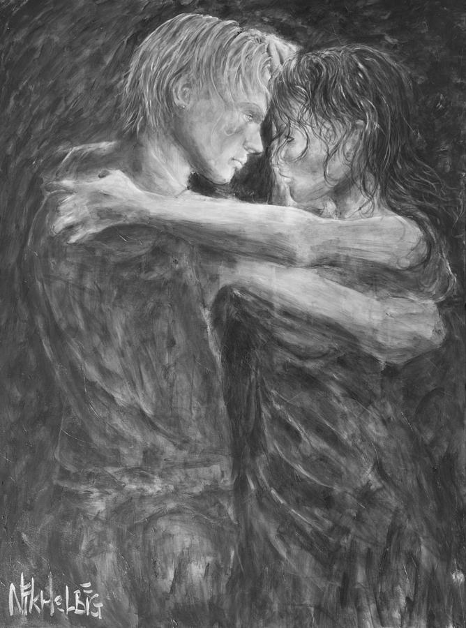 Shades Of Grey Painting -  Shades of Grey - Tango Dancers by Nik Helbig