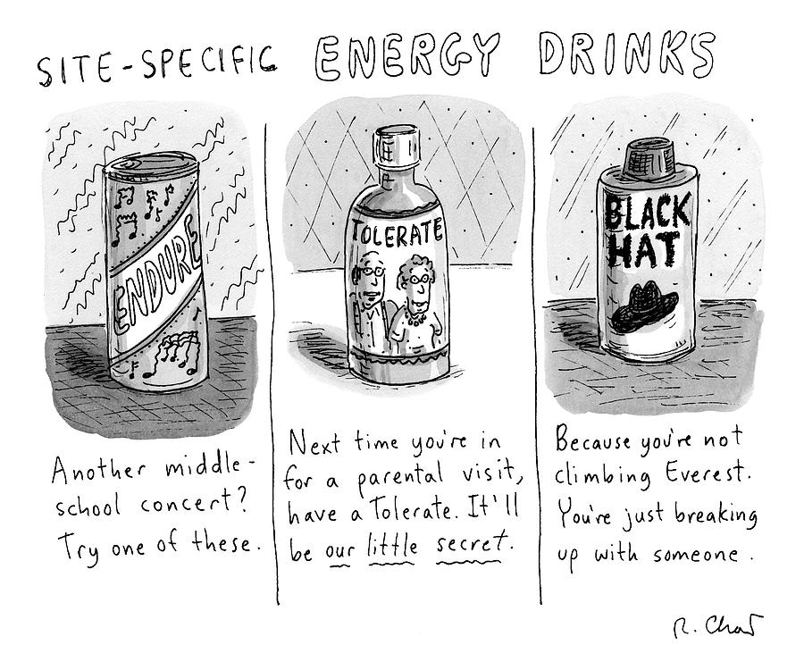 Site-specific Energy Drinks A Series Of Energy Drawing by Roz Chast