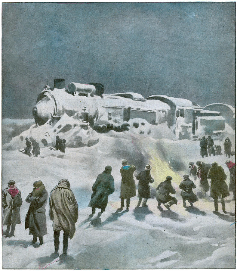 Orient Drawing -  Snow Halts The Train On The by Mary Evans Picture Library