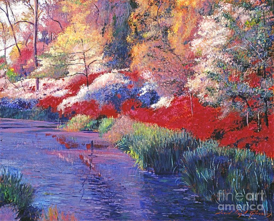 Landscape Painting -  Spring Azalea Reflections by David Lloyd Glover