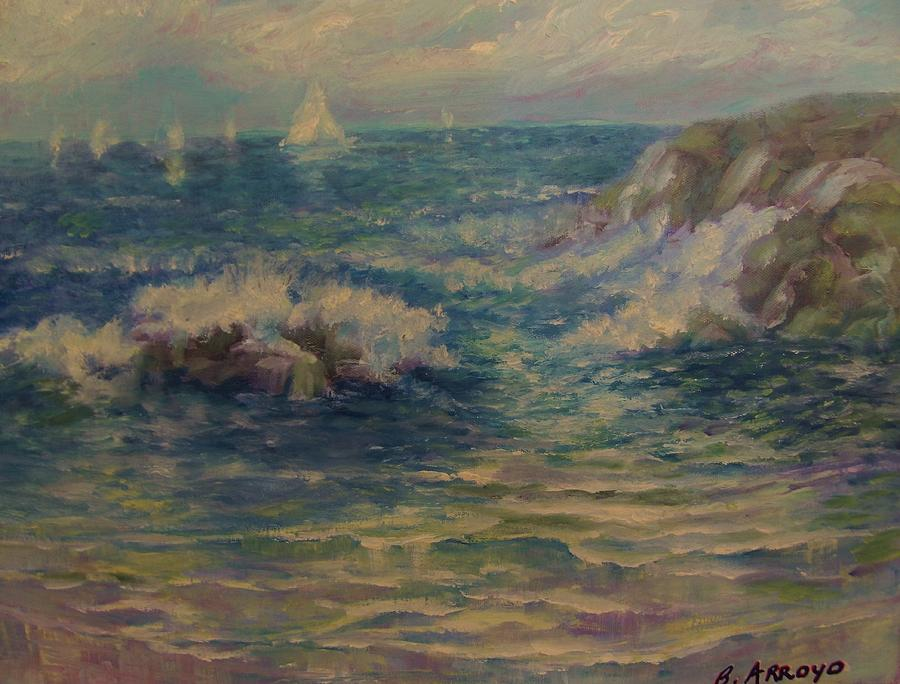 Blue Ocean Painting -   Sunday  Afternoon by Beth Arroyo