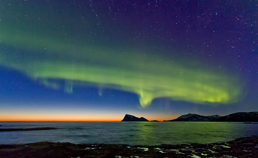 Norway Photograph -  Sunset And Aurora Oval by Frank Olsen