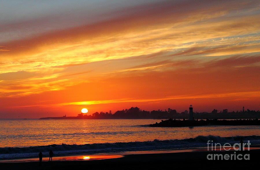 Harbor Photograph -  Sunset At Santa Cruz Harbor 1 by Theresa Ramos-DuVon