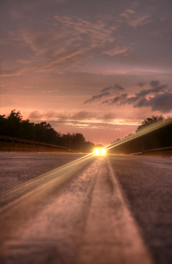 Sunset Photograph -  Sunset High Beams 2 by David Paul Murray