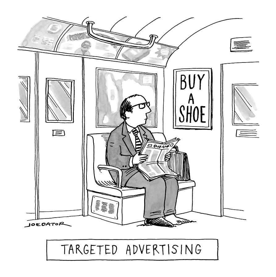 Targeted Advertising A Man Sits On The Subway Drawing by Joe Dator