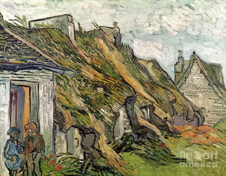 Gogh Painting -  Thatched Cottages In Chaponval by Vincent van Gogh