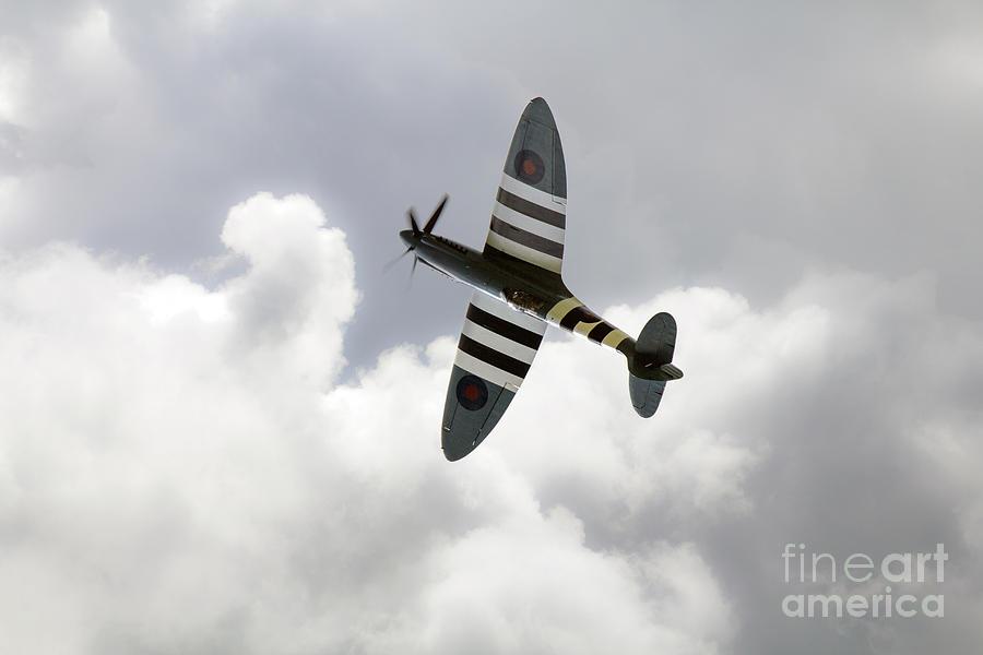 Supermarine Spitfire Digital Art -  The Blue Spitfire by J Biggadike