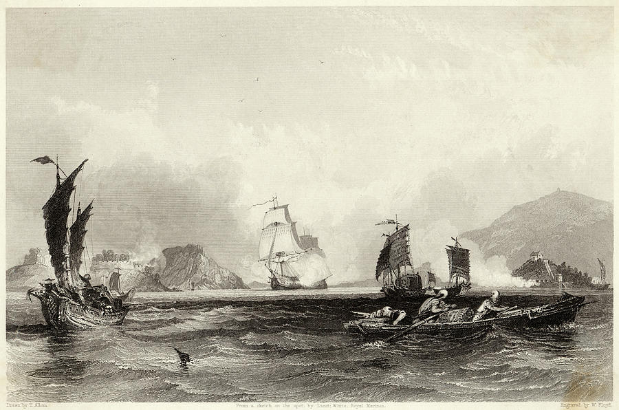Opium Drawing -  The British Fleet Forces A  Passage by Mary Evans Picture Library