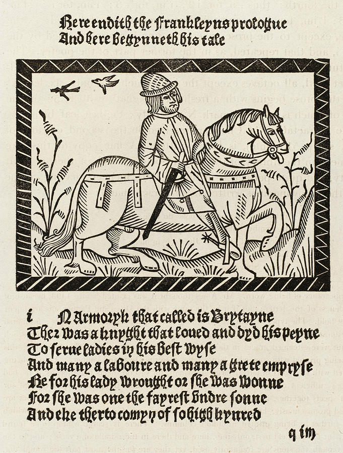 Chaucer Drawing -  The Franklin Depicted In  Richard by Mary Evans Picture Library