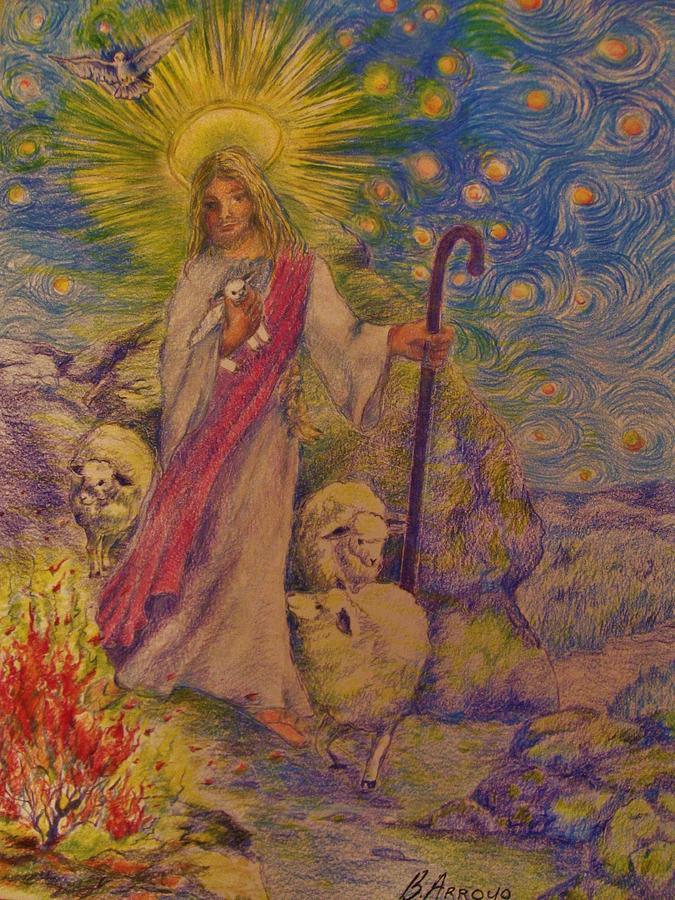 The Good Shepherd Drawing -  The  Good  Shepherd by Beth Arroyo