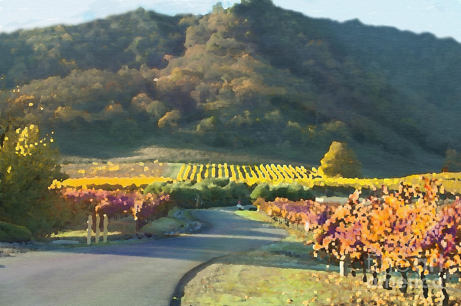 California Vineyards Painting -  The Hills Of Clos La Chance Winery by Artist and Photographer Laura Wrede