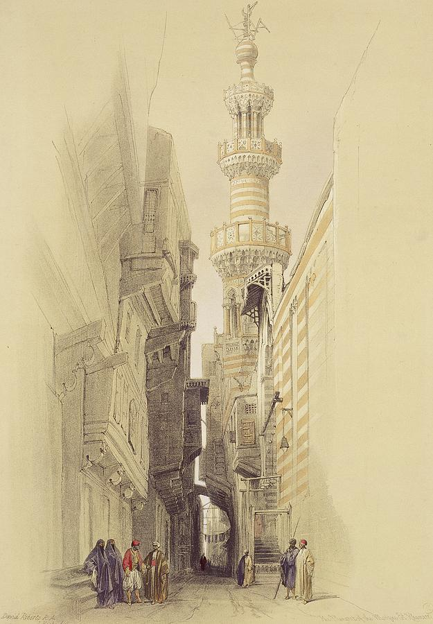 Street Painting -  The Minaret Of The Mosque Of El Rhamree by David Roberts