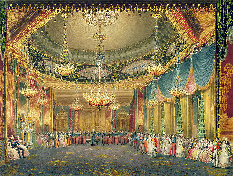 Chandelier Painting -  The Music Room by English School