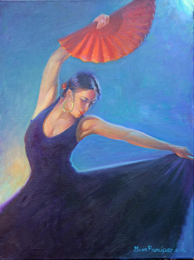 Flamenco Dancer Painting -  The Red Fan by Gwen Carroll