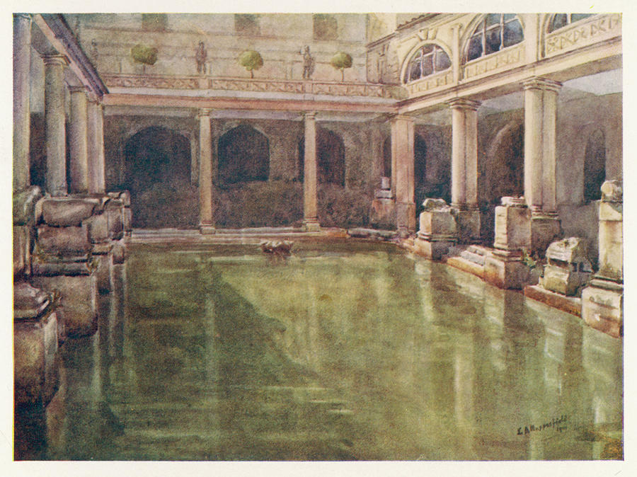 The Roman Bath, Bath Date 1915 Drawing by Mary Evans Picture Liry on home spa design, home storage design, home wine room design, home workout room design, home recreation room design, home office design, home kitchen design, home modern house design, home lighting design, home bedroom design, home garden design, home appliances design, home interior design, home workspace design, home game room design, home door design, home contemporary design, home real estate, home front design, home balcony design,