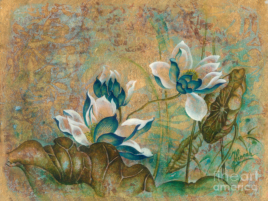 Lotus Painting -  The Turquoise Incarnation by Anna Ewa Miarczynska