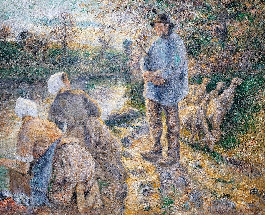 Impressionist Painting -  The Washerwomen by Camille Pissarro