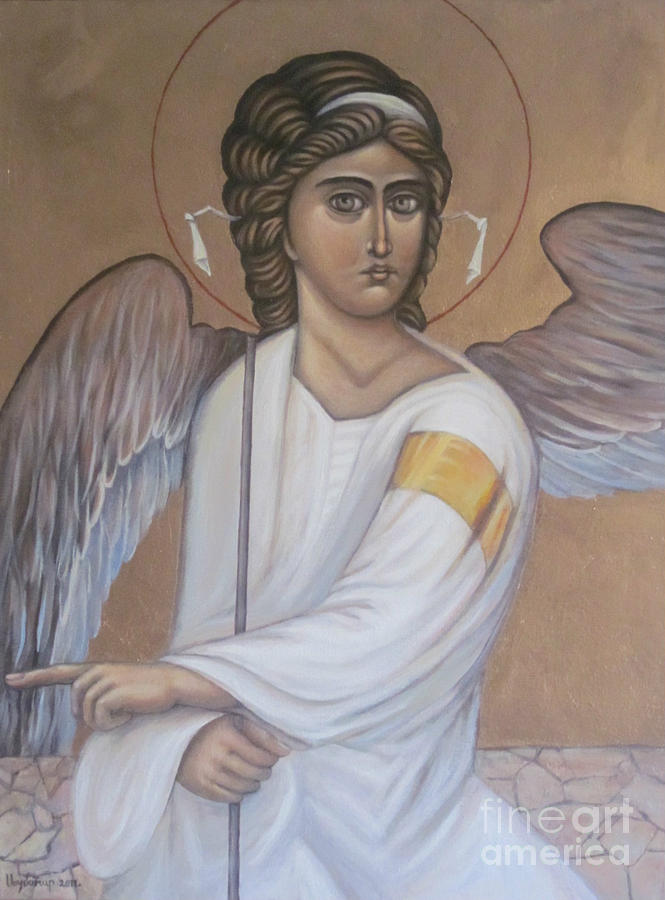 Byzantine Icon Painting -  The White Angel by Ljubomir Ilic