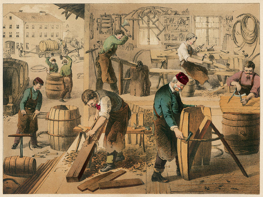 Cooper Drawing -  The Workshop Of A Cooper Or  Barrel by Mary Evans Picture Library