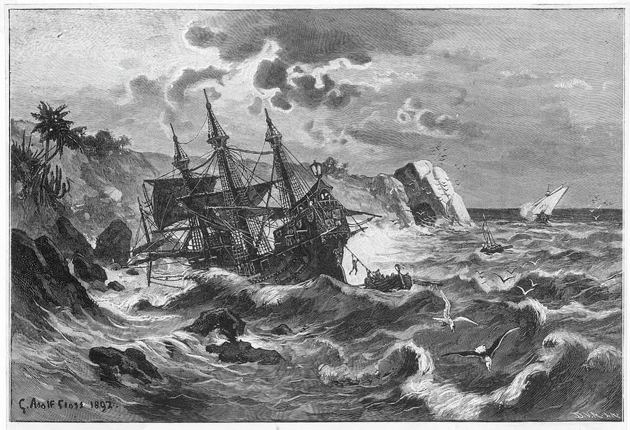 Columbus Drawing -  The Wreck Of The Caravel  santa by Mary Evans Picture Library