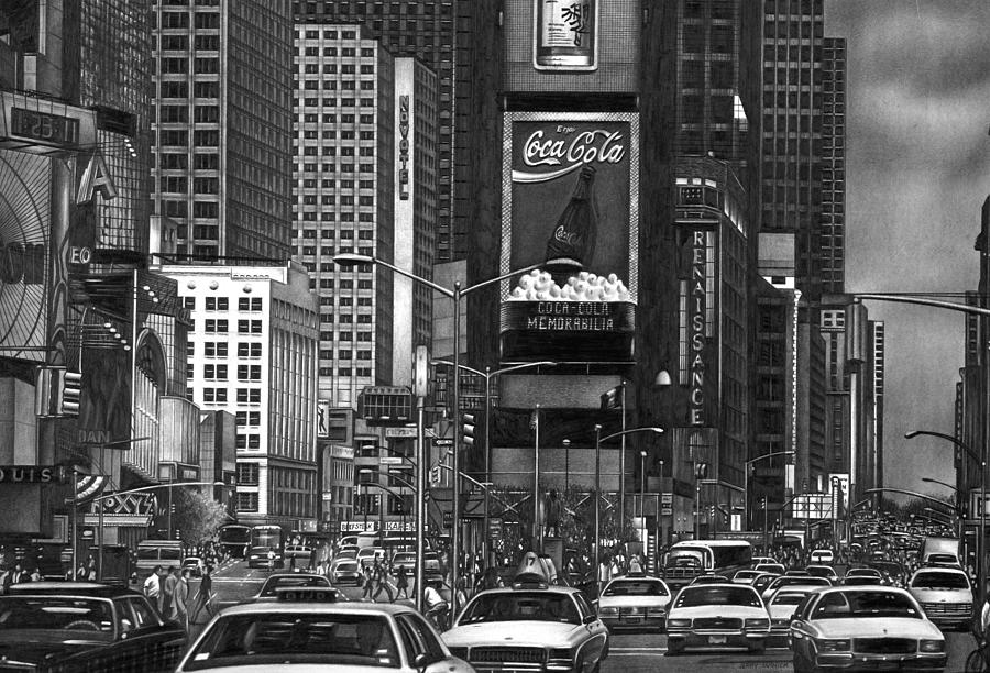 Times Square Drawing -  Times Square by Jerry Winick
