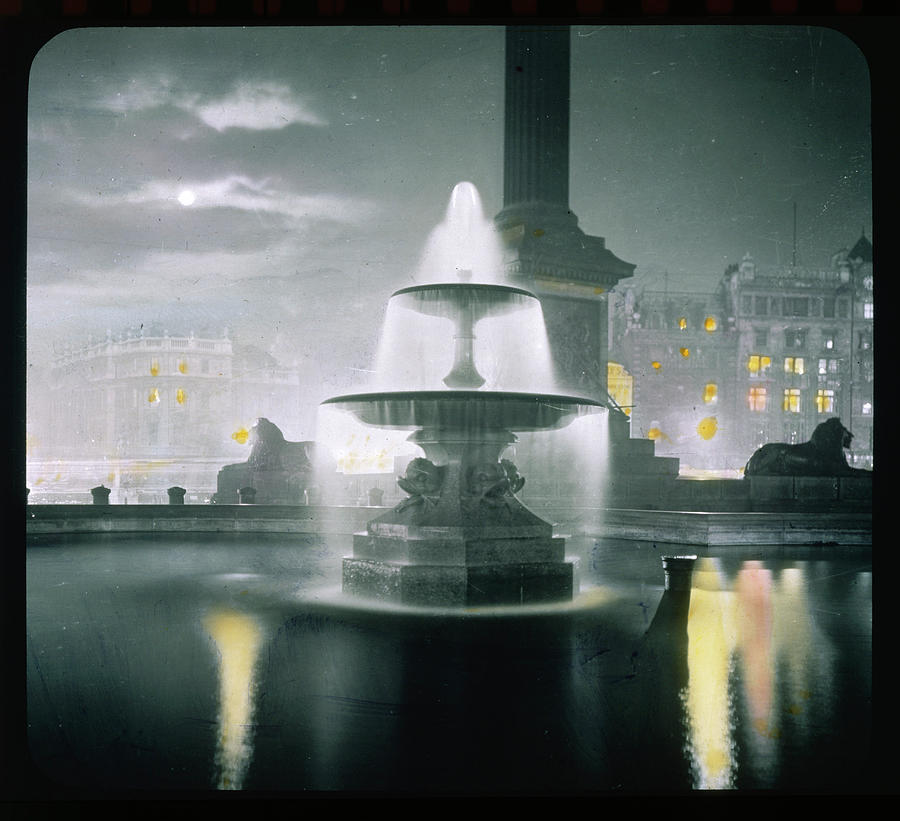 Trafalgar Photograph -  Trafalgar Square At Night  Showing by Mary Evans Picture Library